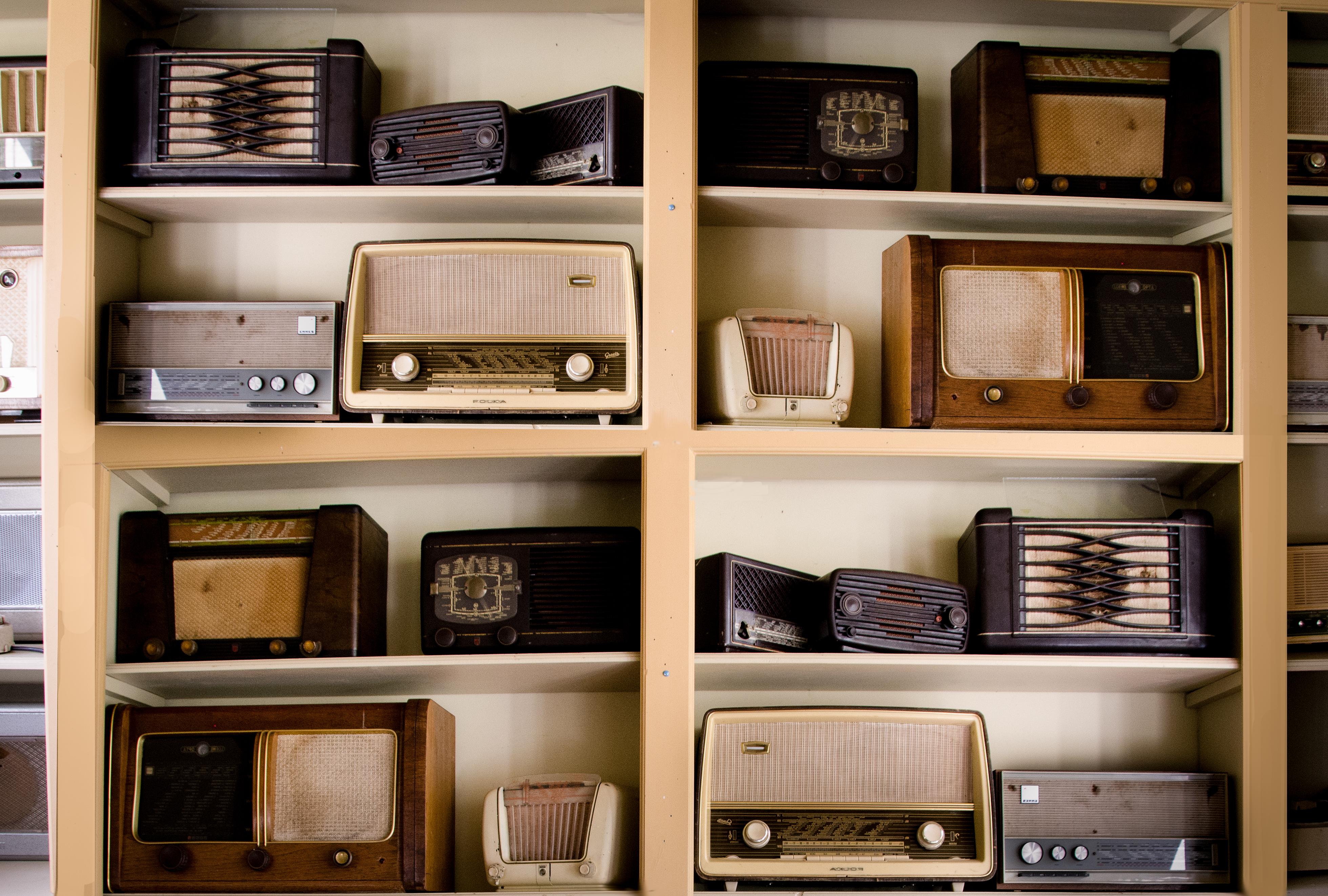 Wall of vintage radios